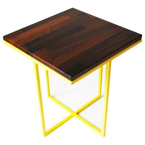 Cheese Department Servez Coffee Table, Yellow and Walnut