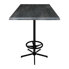 """42"""" Black Table With 30""""x30"""" Square Indoor/Outdoor Top, Black Steel"""