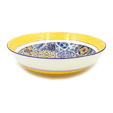 Hand-painted Traditional Portuguese Ceramic Round Salad Bowl, Yellow