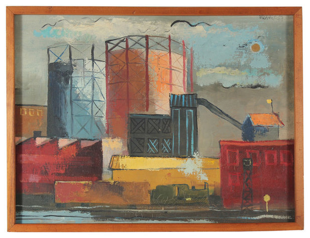 Contemporary Paintings 1947 San Francisco Waterfront by Melvin Fowler