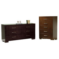 2 Piece Chest and Drawer Set in Dark Cappuccino