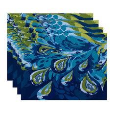 "18""x14"" Boho Splash, Geometric Print Placemat, Turquoise, Set of 4"