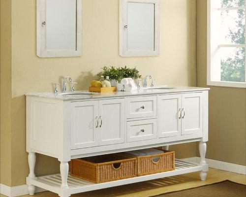 70 Vintage Pearl White Double Sink Vanity Set Bathroom Vanities And Sink Consoles