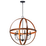 Maxim - Maxim Compass Six Light Pendant 27576APBK - Six Light Pendant from Compass collection in Antique Pecan / Black finish. Number of Bulbs 6. Max Wattage 60.00 . No bulbs included. The sphere has become one the most popular styles in lighting decor today. Our latest entry to this category is constructed of heavy channel metal finished in either Barn Wood or Antique Pecan both with Black accents. Now you can enjoy the beauty of wood with the durability and affordable price of metal. No UL Availability at this time.