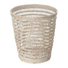 La Jolla Rattan Mesh Round Waste Basket, White-Wash