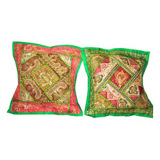 Mogul Interior - Handmade Cushion Cover Sari Patch Pillow Shame - Decorative Pillows