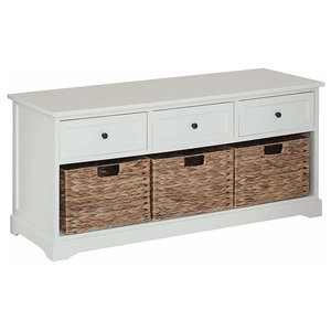 Contemporary Storage Bench in Paulownia Wood with 3 Drawers and 3 Baskets