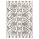 """Safavieh - Safavieh Global Area Rug, GLB878, Gray and Ivory, 5'3""""x7'7"""" - Boho-chic style goes indoor-outdoor with the all-weather rugs of the Global Collection. Evocative motifs are displayed in subtle raised-textures and colored in warm, neutral hues, elevating the ambiance of busy living spaces indoors or out. Global rugs are made using durable synthetic yarns to resist wear, weather, and fading from the sun season after season."""