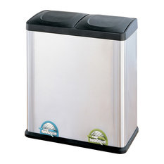 Two Compartment Step, On Recycling Bin, Stainless Steel and Black, 15.85 Gal/60L