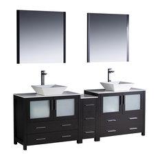 Torino 84-inch Espresso Double Sink Bathroom Vanity Side Cabinet Vessel Sinks