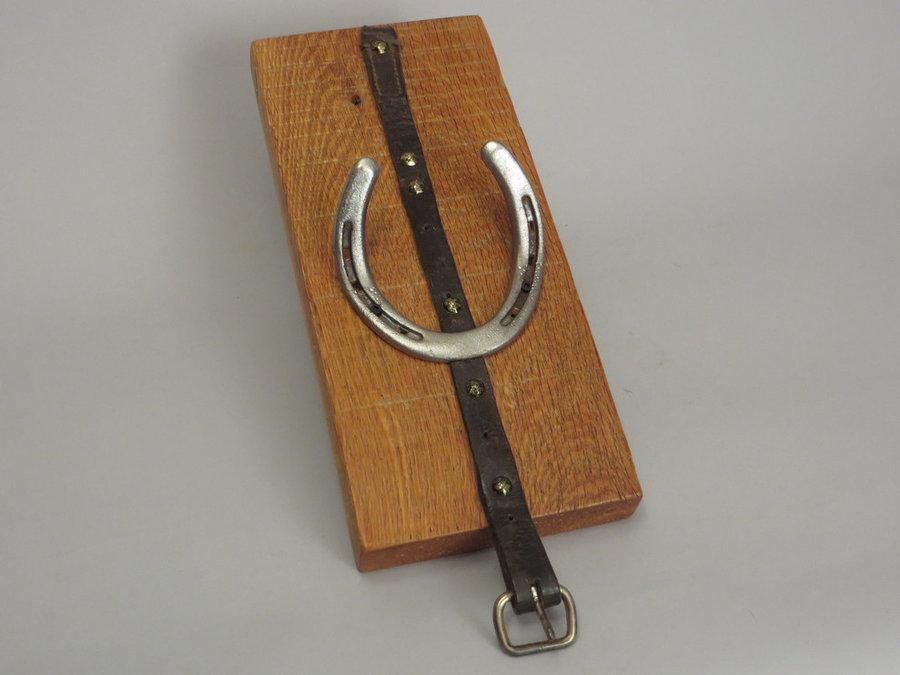 #R15042 Coat Rack Reclaimed Oak, horseshoes, leather.