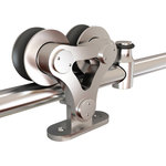Custom Service Hardware - Top-Mount, Dual Wheel European Style Rolling Door Hardware - This stainless steel rolling barn door hardware will provide durability and sophistication to your rolling door with a more modern look.