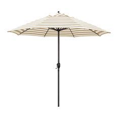 9' Aluminum Market Umbrella Auto Tilt Bronze, Olefin, Beige White Cabana Stripe