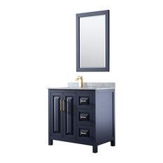 Daria 36-inch Dark Blue Single Vanity Carrara Marble Top Square Sink 24-inch Mirror