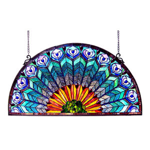 Regal Eudora Peacock Feather Glass Window Panel