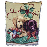 "Tache Home Fashion - Puppy's First Christmas Tapestry Woven Throw Blanket, 50""x60"" - Join these adorable little puppies for Snuggle up by the fire or in bed with our amazingly warm throw Perfect for freezing nights to overnight guest and everything in between.These Amazing and Durable Throws are a Must for any Home! Super Soft and amazingly Accented these Throw will be a huge Hit!"