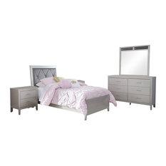 Ashley Olivet 5-Piece Bedroom Set Twin Panel, Silver