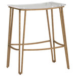 GABBY - Gabby Pierce Counter Stool - This backless counter stool features double line legs and curve stretchers in antiqued silver metal to create an eclectic look.