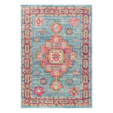 """Bohemian Flair Vintage Medallion Rug, Blue and Red, 5'3""""x7'7"""""""