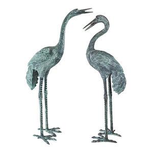 Bronze Crane Sculptures, Set of 2, Large