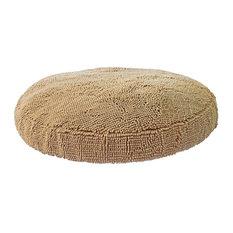 Super Snoozer Microfiber Chenille Round Dog Bed, Beige, Large