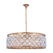 Madison Pendant Lamp, Golden Iron Finish, Faceted Crystal, Clear