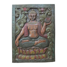 Mogul Interior - Consigned Buddha Door Panel Multicolor Patina - Wall Decor