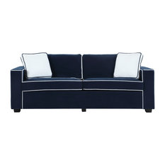 Divano Roma Furniture   Modern Two Tone Colorful Velvet Fabric Living Room  Sofa, Navy