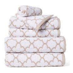 Irongate 6-Piece 100% Cotton Bath Towel Set, White/Sand