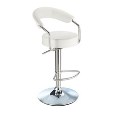 Pinnacle Stainless Steel Faux Leather Adjustable Bar Stool, Chrome, White