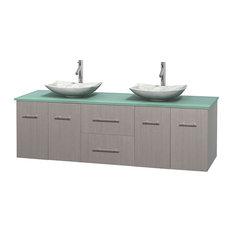 72 in. Double Bathroom Vanity in Gray Oak, Green Glass Countertop, Arista White