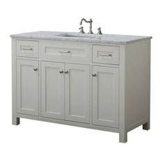 """Cabinet Mania White Shaker 48"""" Bathroom Vanity With Marble Top"""