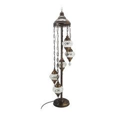 Handmade Turkish Tiffany Glass Mosaic 5-Ball Floor Lamp