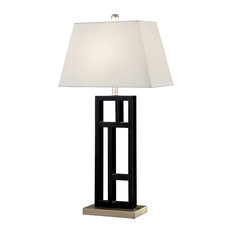 """Perry 31"""" Black and Brushed Steel Sculptured Table Lamp With Empire Shade"""