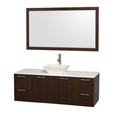 "Amare 60"" Espresso Single Sink Vanity With White Man-Made Stone Top, 58"" Mirror"