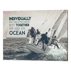 """""""Together We are an Ocean - Sailing Team Grayscale"""" Wall Art by Color Me Happy"""