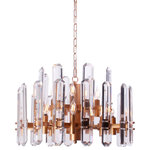 """Italian Concept - Ruby Crystal Glacier Shards Chandelier, Brass, 24""""w (12 Lights) - Available Sizes:"""