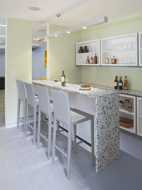 Inspiration For A Contemporary Galley Seated Home Bar Remodel In New York  With Open Cabinets And