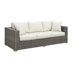 Furniture of America Arthur Rattan Patio Sofa with Pillows in Light Gray