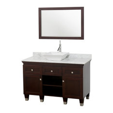 "Premiere 48"" Bathroom Vanity, Espresso, White Marble Top, White Porcelain Sink"