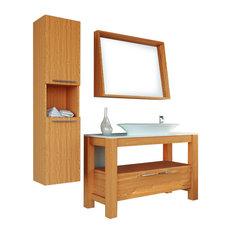Bathroom Vanity Set Single Sink Freestanding, Pollino, Veneer Light Oak