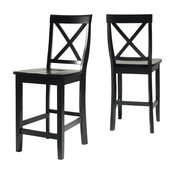 X-Back Stools, Set of 2, Black, Counter Height