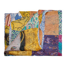 "Kantha Silk Throw Quilt Blanket, 60""x90"""