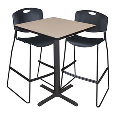 """Cain 30"""" Square Café Table, Beige and 2 Zeng Stack Stools, Black"""