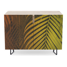 """Society6 Credenza, Birch, Steel, 30"""", Tropical Leaves Green Mocca No1"""