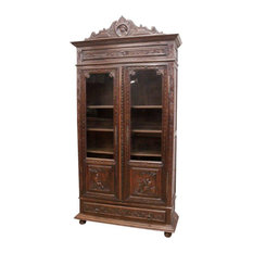 Consigned Bookcase Brittany Antique French 1880 Carved Country People Figures