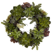 20 in. Succulent Wreath in Green