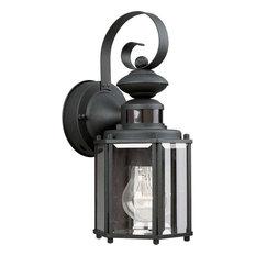 Motion Sensor Outdoor Wall Lights: Progress Lighting - Progress P5662-31, Motion Sensor Outdoor Wall Light,  Black -,Lighting