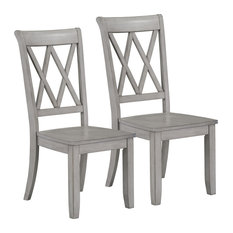 Vintage X-Back Side Chairs, Set of 2, Gray