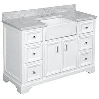 """Zelda Bathroom Vanity, Base: White, 48"""", Top: Carrara Marble, Single Sink"""